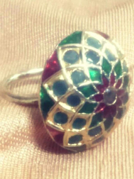 Kundan Meena Ring From Jaipur In Multicolour - LV-CJR17SP68