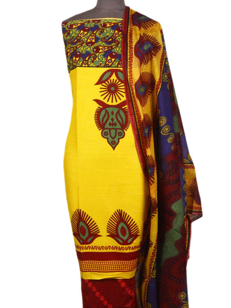 Pakistani Print Suit In Yellow - TPKKS10D23