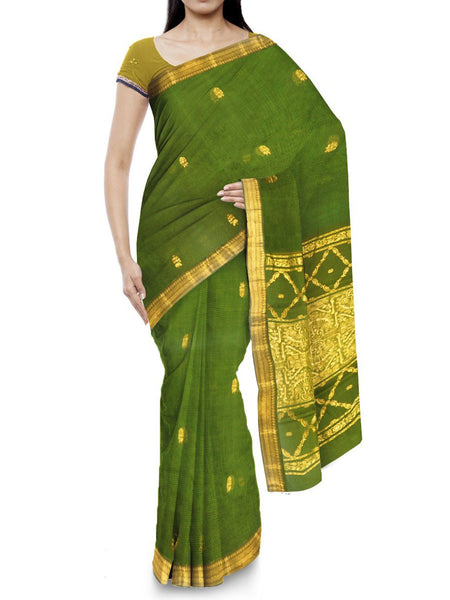 Kota Doria Handloom Saree From Kota In Green - IW-PKRSA2AG1