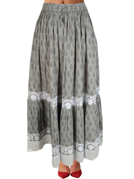 Chikankari Embroidered Fusion skirts from Lucknow In Grey - VD-APLUS19JLY25