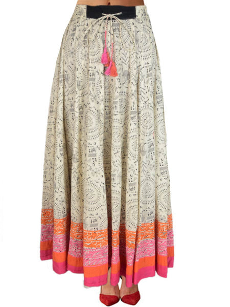 Chikankari Embroidered Fusion skirts from Lucknow In White - VD-APLUS19JLY29