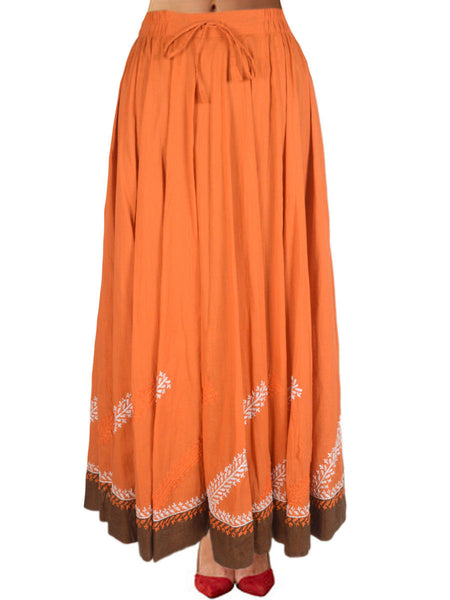 Chikankari Embroidered Fusion skirts from Lucknow In Orange - VD-APLUS19JLY2