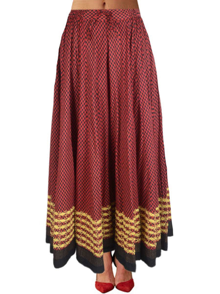 Chikankari Embroidered Fusion skirts from Lucknow In Black & Maroon - VD-APLUS19JLY31