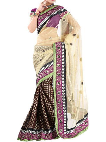 Beige And Black Half Saree Saree - VA-KPSA29MH1