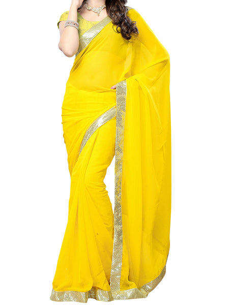 Yellow Sequence Work Saree - VA-KPSA29MH5