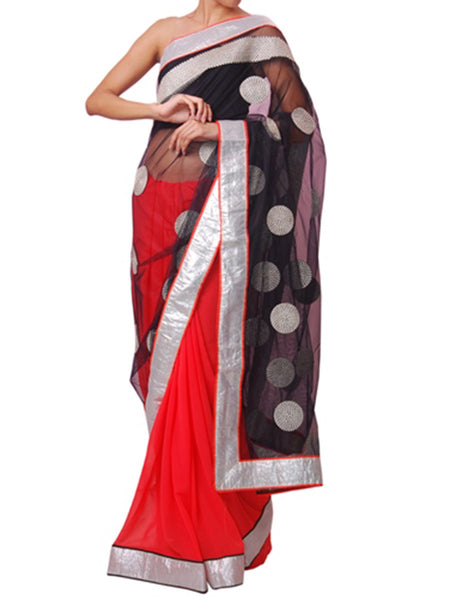 Black And Orange Half Saree - VA-KPSA29MH24