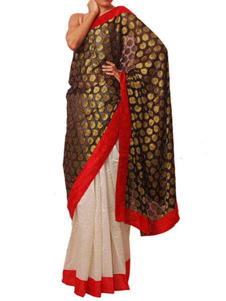 Black & Cream Saree  - VA-KPSA29MH26