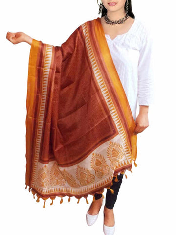 Art Silk Dupatta From Bhagalpur In Multicolour - VKCBBD28JL5