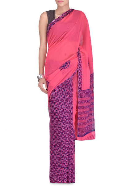 Georgette Pink Paisleys Print Saree - VA-KPSA7FB26