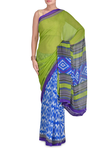 Georgette Green & Blue Abstract Print Saree - VA-KPSA7FB31
