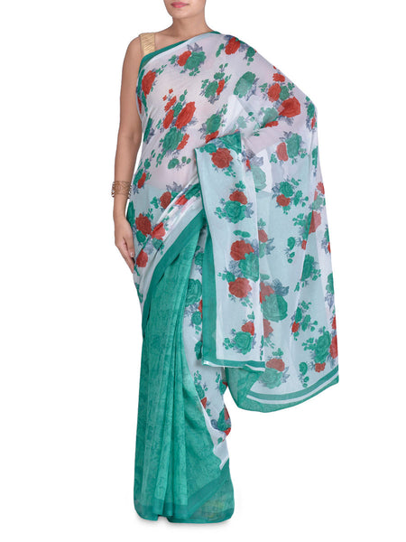Georgette Cream And Green Floral Print Saree - VA-KPSA7FB17