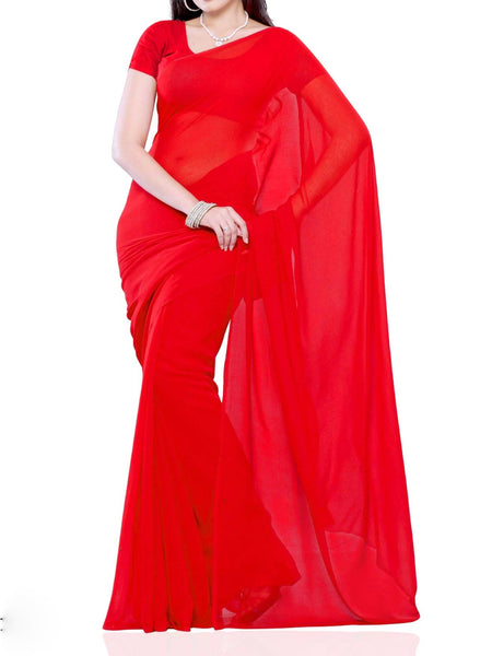 Red Faux Georgette Saree - VA-KPSA21MH7