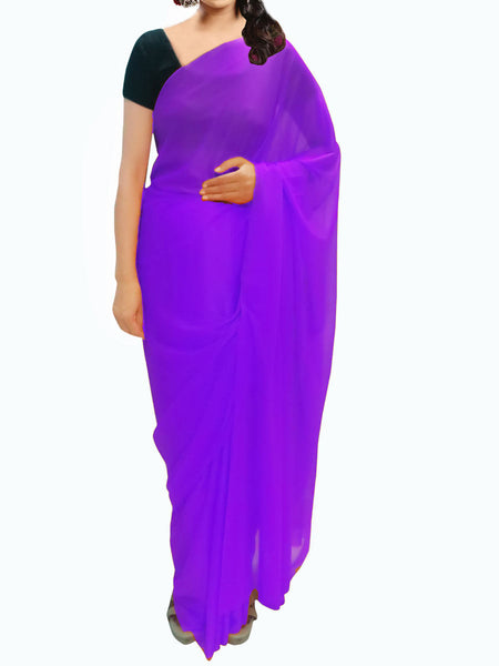 Purple Plain Lycra Saree From Surat - VA-KPSA30AG6
