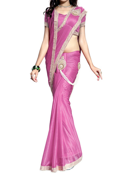 Ready To Wear(One Minute) Pink Lycra Designer Saree - VA-KPSA30AG12