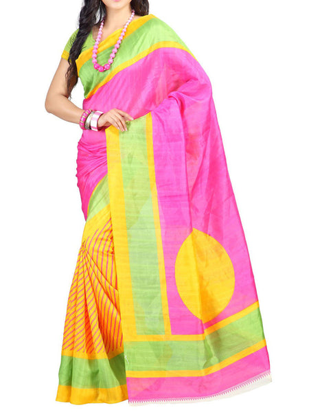 Pink & Yellow Bhagalpuri Silk Saree - VA-KBSA7FB37