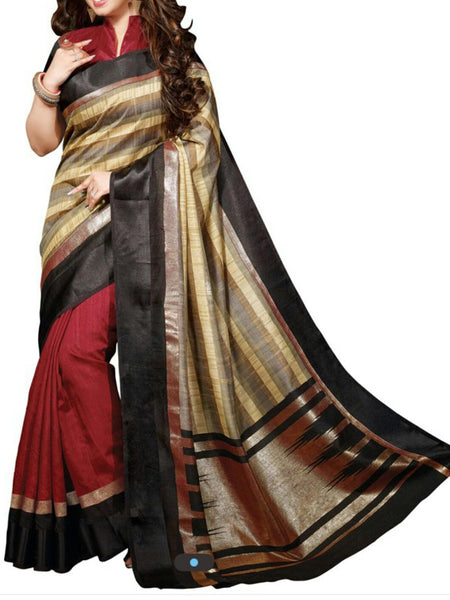 Red Bhagalpuri Silk Saree - VA-KBSA7FB43