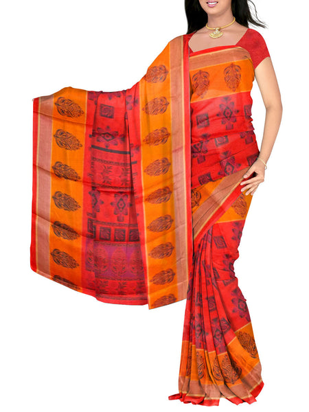 Red Printed Bhagalpuri Saree - VA-KBSA7FB15