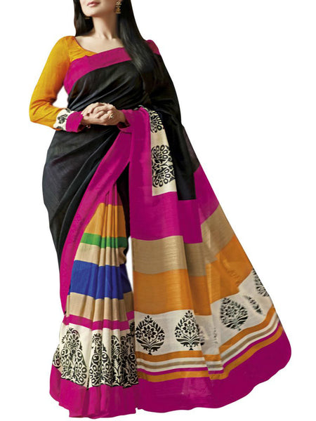 MultiColour Bhagalpuri Silk Saree - VA-KBSA7FB21
