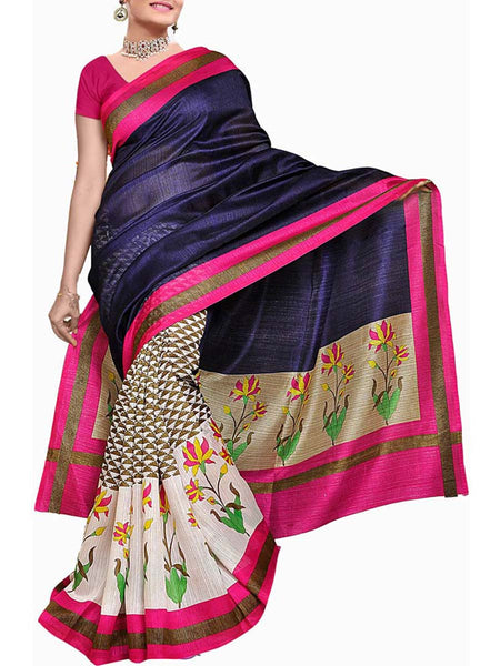 MultiColour Bhagalpuri Silk Saree  - VA-KBSA7FB23
