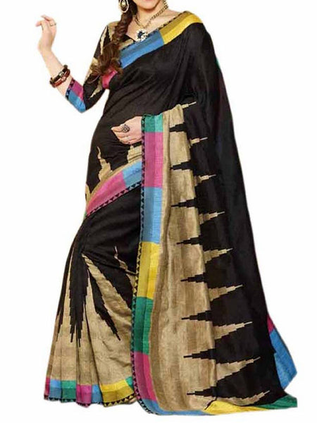 Black & Golden Bhaglpuri Silk Saree - VA-KBSA28MH6