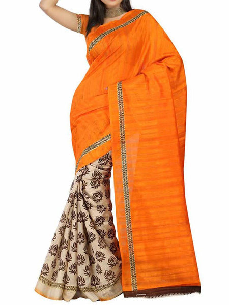 Orange & Beige Bhaglpuri Silk Saree - VA-KBSA7FB31