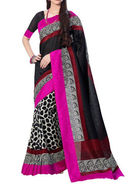 White & Black Bhagalpuri Silk Saree - VA-KBSA7FB32