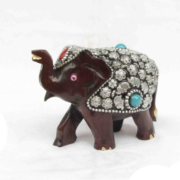 Elephant With Silver & Blue Stone Wood Handicraft-EC-HJRWE7M1