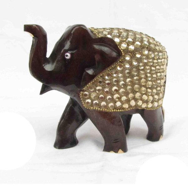 Elephant With Faux Crystals Wood Handicraft-EC-HJRWE7M3