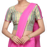 West Bengal Semi Stitch Party Wear Blouse In Golden & Pink - PWBBI17OT10