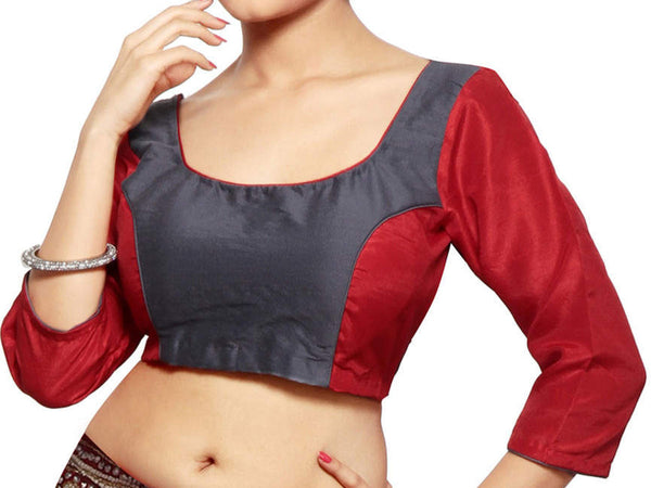 West Bengal Semi Stitch Party Wear Blouse In Dark Red - PWBBI20OCT6