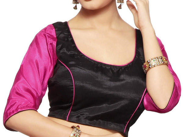 West Bengal Semi Stitch Party Wear Blouse In Black & Magenta - PWBBI20OCT12