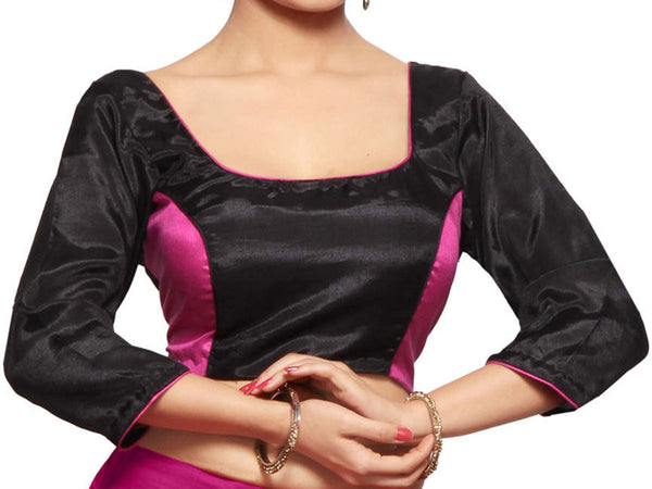 West Bengal Semi Stitch Party Wear Blouse In Black & Magenta - PWBBI20OCT14