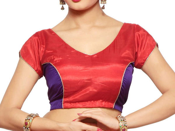 West Bengal Semi Stitch Party Wear Blouse In Blue & Red - PWBBI20OCT16