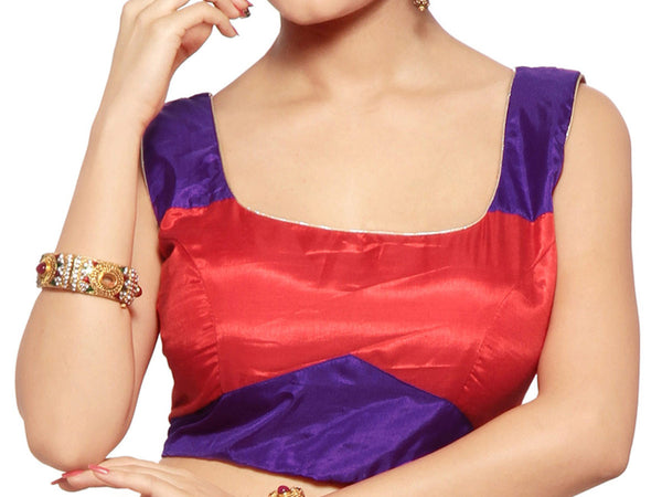 West Bengal Semi Stitch Party Wear Blouse In Blue & Red - PWBBI20OCT17