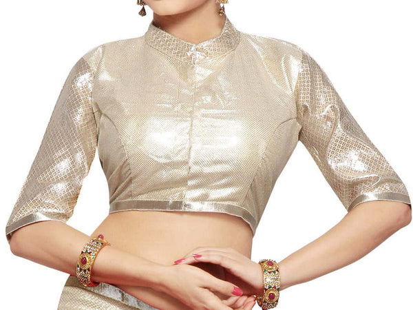 West Bengal Semi Stitch Party Wear Blouse In Silver - PWBBI20OCT20