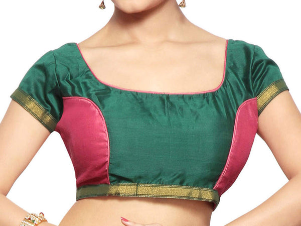 West Bengal Semi Stitch Party Wear Blouse In Green & Pink - PWBBI23OCT3