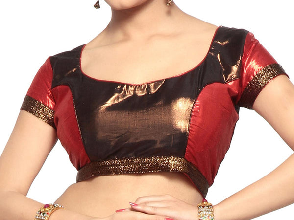 West Bengal Semi Stitch Party Wear Blouse In Red & Copper - PWBBI23OCT4