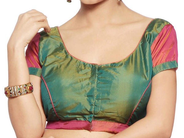 West Bengal Semi Stitch Party Wear Blouse In Green & Red - PWBBI23OCT7
