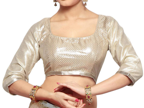 West Bengal Semi Stitch Party Wear Blouse In Silver - PWBBI23OCT15