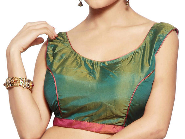 West Bengal Semi Stitch Party Wear Blouse In Green & Red - PWBBI23OCT16