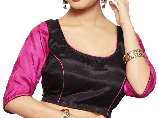 West Bengal Semi Stitch Party Wear Blouse In Black & Magenta - PWBBI23OCT19