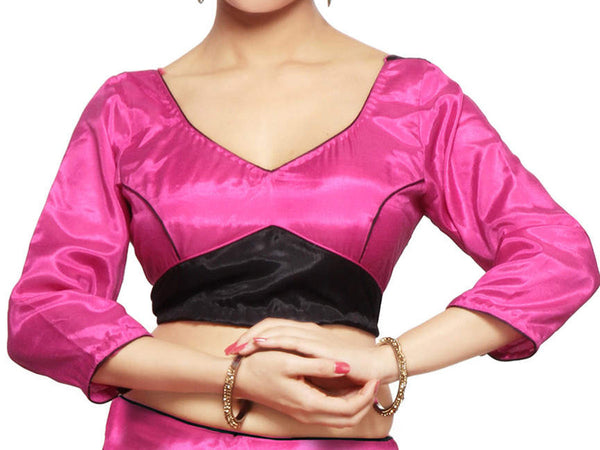 West Bengal Semi Stitch Party Wear Blouse In Black & Magenta - PWBBI23OCT20