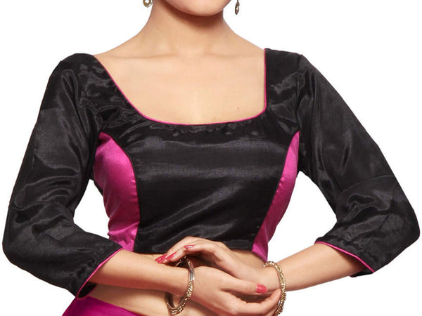 West Bengal Semi Stitch Party Wear Blouse In Black & Magenta - PWBBI23OCT21