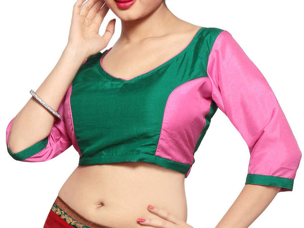 West Bengal Semi Stitch Party Wear Blouse In Green & Baby Pink - PWBBI23OCT23