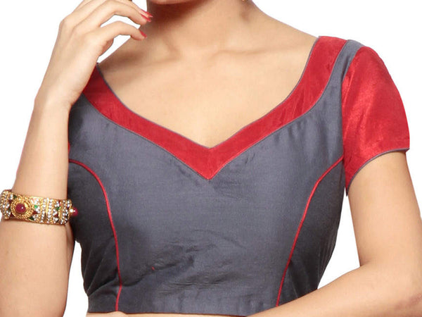 West Bengal Semi Stitch Party Wear Blouse In Red - PWBBI23OCT31