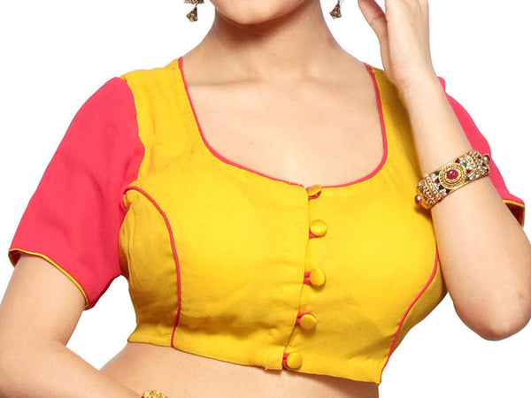 Yellow & Magenta Colors Air Hostess Collor Satin Blouse  From West Bengal - PWBBI30OT2