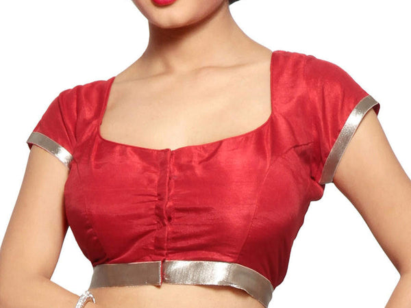 Red & Blue Color Low Cut Neck Satin Blouse  From West Bengal - PWBBI30OT4