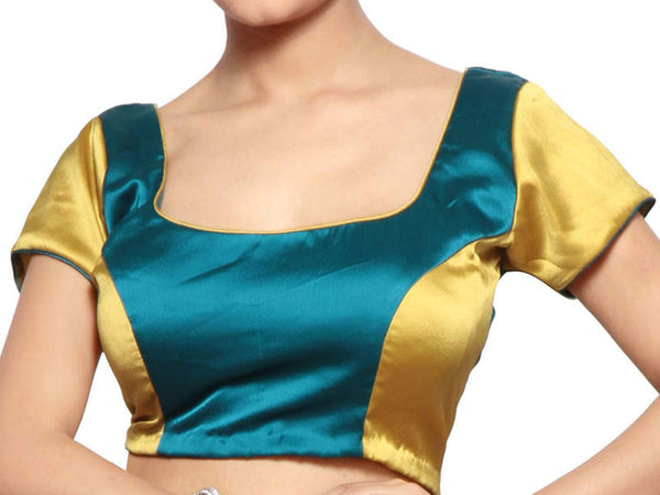 Aqua Blue & Golden Colors Rounded Neck Blouse Party Wear Satin Blouse From West Bengal - PWBBI30OT12