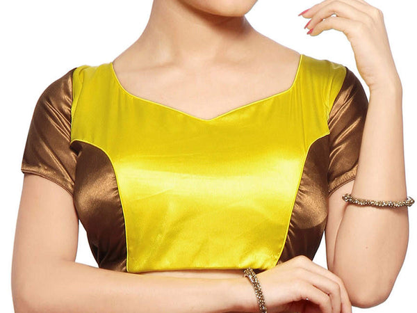 Yellow & Copper Colors Designer Collection Radymade Satin Blouse From West Bengal - PWBBI30OT15