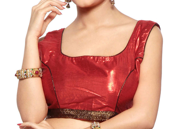 Maroon & Antique Colors Sleeveless Satin Blouse From West Bengal - PWBBI30OT16